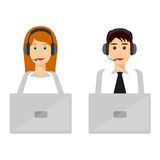 Young man and woman wearing headsets Stock Photo