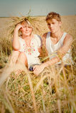 Young man and woman on wheat field Royalty Free Stock Photos