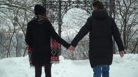 Young man and woman walking in winter park covered with snow holding hands. Winter leisure of happy loving couple. Back stock video