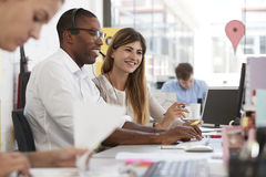 Young man and woman working with team in an open plan office Royalty Free Stock Photography
