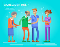 Young man and women caregiwer. Helping an old lady and old man. Elder people care and nursing. Vector detailed character flat design vector illustration