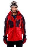 Young man in woolen cap and winter jacket Royalty Free Stock Photography