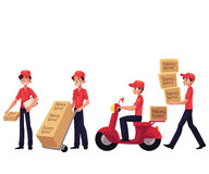 Young man working as courier, delivering goods, parcel, boxes. Cartoon vector illustration isolated on white background. Delvery service man carrying boxes royalty free illustration