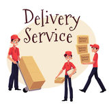 Young man working as courier, delivering goods, parcel, boxes Royalty Free Stock Photography