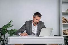 A young man is working behind a laptop in his office. The teacher prepares for the lecture. A businessman in gray suit works at the computer Royalty Free Stock Photography