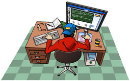 Young man working at computer. Cartoon-style illustration: a young man wearing a baseball cap is working at his computer. On the desk: book and notepad with pen Stock Images