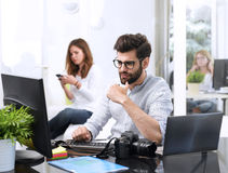 Young man working on computer Royalty Free Stock Photo