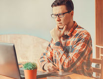 Young man working with graphics tablet Royalty Free Stock Images