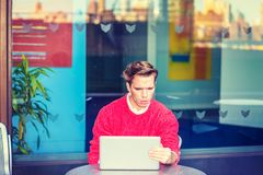 Young Man Working Hard in New York. Royalty Free Stock Image