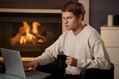Young man working at home Royalty Free Stock Photo