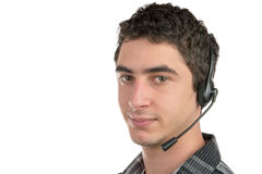A young man working on the hotline Royalty Free Stock Photography