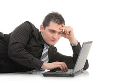 Young man working on a laptop Royalty Free Stock Photography