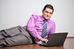 Young man working on a laptop Stock Photo