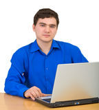 Young man working for laptop Royalty Free Stock Images