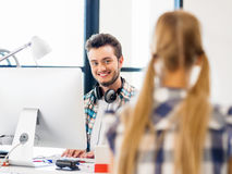 Young man working in office Stock Images