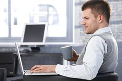 Young man working in office using laptop Royalty Free Stock Image