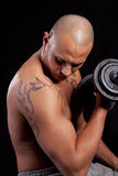 Young man working out. Young bald strong man is working out over black background Stock Image