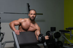 Young Man Working Out Biceps Stock Photography