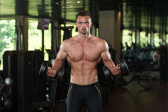 Young Man Working Out Biceps. Muscular Young Man Doing Heavy Weight Exercise For Biceps With Dumbbells In Modern Fitness Center Gym Stock Images