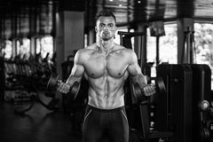 Young Man Working Out Biceps Royalty Free Stock Photos