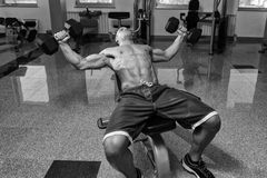 Young Man Working Out Chest With Dumbbells Royalty Free Stock Images