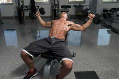 Young Man Working Out Chest With Dumbbells Royalty Free Stock Photo