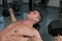 Young Man Working Out Chest With Dumbbells Royalty Free Stock Photography