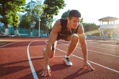 Young Man Working Out On Running Track royalty free stock photography