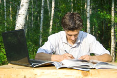 Young man working in the park Stock Image