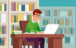 Young man working or study on laptop in library. Vector young man working or study on laptop in library vector illustration