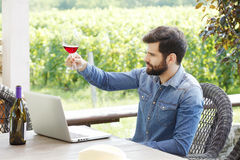 Young man working in a vineyard Royalty Free Stock Photos