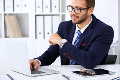 Free Young Man Working With Laptop Computer, Man`s Hands On Notebook, Business Person At Workplace Royalty Free Stock Photo - 95791825