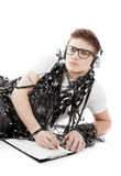Young man wrapped in tape Stock Image