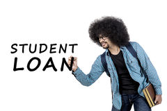 Young man writing student loan word. Young afro man writing student loan word on whiteboard while holding book, isolated on white background Stock Photography