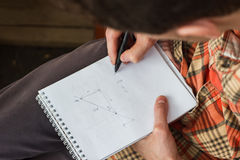 The young man wrote mathematical formulas Royalty Free Stock Images
