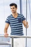 Young man on yacht. Handsome young man on board of yacht Royalty Free Stock Photography