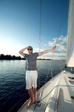 young man on a yacht Royalty Free Stock Photography