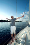 young man on a yacht Stock Image