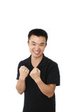 Young man with 'yeah' Stock Images