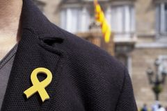 Man with a yellow ribbon in Barcelona, Spain. Young man with a yellow ribbon pinned in the flap of his jacket in front of the Palau de la Generalitat de Stock Photos