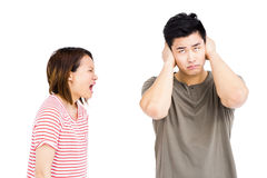 Young man and young woman into an argument. Young men and young women into an argument on white background Stock Photos