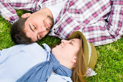Young man and young woman Stock Photos