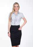 Young manager blond woman in pencil black skirt Royalty Free Stock Photography