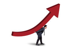 Young manager with business growth chart Royalty Free Stock Images