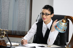 Young manager communicating Stock Photo