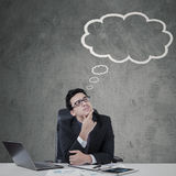 Young manager with empty cloud tag Stock Photos