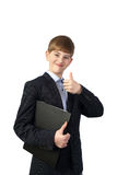 Young manager on gray Royalty Free Stock Photography