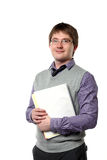 Young manager is holding papers Stock Images