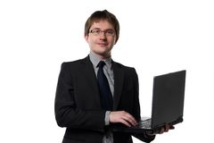 Young manager with laptop Stock Images