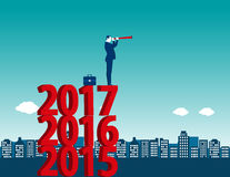 Young manager looking success at standing above numbers 2017. Co. Ncept business illustration. Vector flat Stock Images